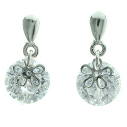 Cubic Zirconia Flower Dangle-Earrings  With Crystal Accents Silver-Tone Color #2766