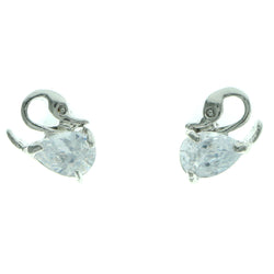 Cubic Zirconia Bird Stud-Earrings  With Crystal Accents Silver-Tone Color #2768