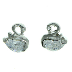 Cubic Zirconia Swan Stud-Earrings  With Crystal Accents Silver-Tone Color #2770