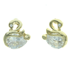 Cubic Zirconia Swan Stud-Earrings  With Crystal Accents Gold-Tone Color #2769