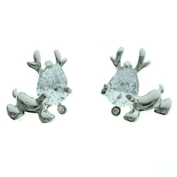 Cubic Zirconia Reindeer Stud-Earrings  With Crystal Accents Silver-Tone Color #2772