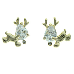 Cubic Zirconia Reindeer Stud-Earrings  With Crystal Accents Gold-Tone Color #2771