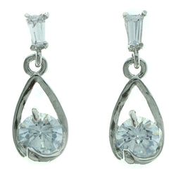 Cubic Zirconia Dangle-Earrings With Crystal Accents  Silver-Tone Color #2774