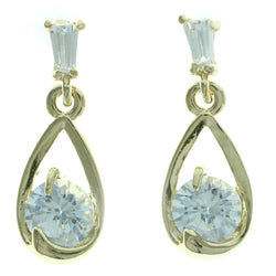 Cubic Zirconia Dangle-Earrings With Crystal Accents  Gold-Tone Color #2773