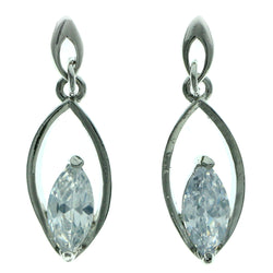 Cubic Zirconia Dangle-Earrings With Crystal Accents  Silver-Tone Color #2776