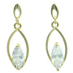 Cubic Zirconia Dangle-Earrings With Crystal Accents  Gold-Tone Color #2775