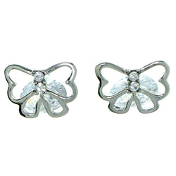 Bow Stud-Earrings With Crystal Accents  Silver-Tone Color #2778