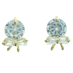 Cubic Zirconia Bow Stud-Earrings  With Crystal Accents Gold-Tone Color #2779