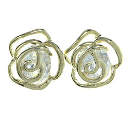 Cabbage Rose Stud-Earrings With Crystal Accents  Gold-Tone Color #2781