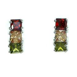 Three Squares Stud-Earrings With Crystal Accents Silver-Tone & Multi Colored #2791