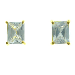 Cubic Zirconia Stud-Earrings With Crystal Accents  Gold-Tone Color #2821
