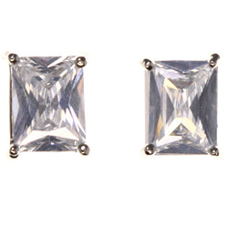 Cubic Zirconia Stud-Earrings With Crystal Accents  Silver-Tone Color #2822