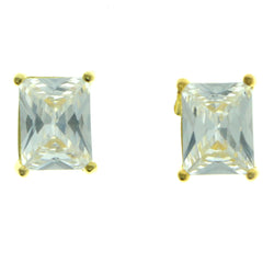 Cubic Zirconia Stud-Earrings With Crystal Accents  Gold-Tone Color #2823