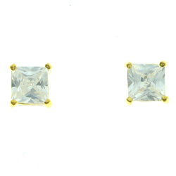 Cubic Zirconia Stud-Earrings With Crystal Accents  Gold-Tone Color #2826