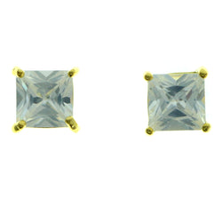 Cubic Zirconia Stud-Earrings With Crystal Accents  Gold-Tone Color #2829