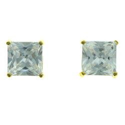 Cubic Zirconia Stud-Earrings With Crystal Accents  Gold-Tone Color #2831