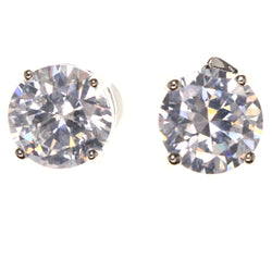Cubic Zirconia Stud-Earrings With Crystal Accents  Silver-Tone Color #2836