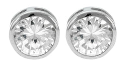 Silver-Tone Circle Shaped Post Earrings With CZ Accent For Women 36CZ4894A