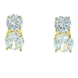 Round Stud-Earrings With Crystal Accents  Gold-Tone Color #2879