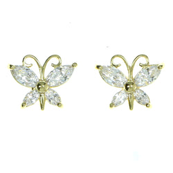 Butterfly Stud-Earrings With Crystal Accents  Gold-Tone Color #2880
