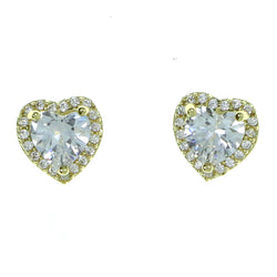 Heart Stud-Earrings With Crystal Accents  Gold-Tone Color #2893