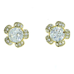 Flower Stud-Earrings With Crystal Accents  Gold-Tone Color #2895