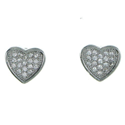 Heart Stud-Earrings With Crystal Accents  Silver-Tone Color #2917