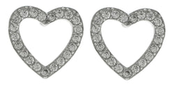 Silver-Tone Open Heart Shaped Post Earrings With CZ Accent For Women #2919