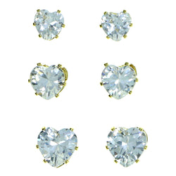 Set Of Three Heart Shaped Muliple Size Per Card Stud-Earrings With Crystal Accents Gold-Tone Color #2924