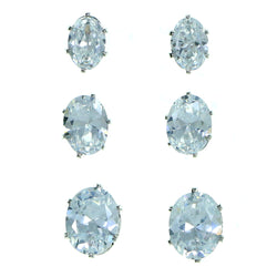 Set Of Three Oval Shaped Stud-Earrings  With Crystal Accents Silver-Tone Color #2927