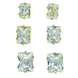 Set Of Three Rectangular Muliple Size Per Card Stud-Earrings With Crystal Accents Gold-Tone Color #2928