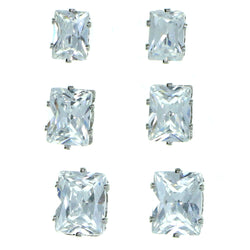 Set Of Three Rectangular Stud-Earrings  With Crystal Accents Silver-Tone Color #2929