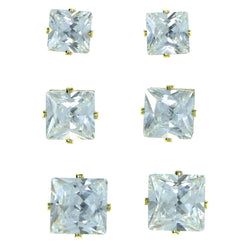 Set Of Three Square Shaped Muliple Size Per Card Stud-Earrings With Crystal Accents Gold-Tone Color #2931