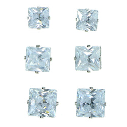 Set Of Three Square Shaped Stud-Earrings  With Crystal Accents Silver-Tone Color #2932