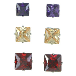 Set Of Three Square Shaped Muliple Size Per Card Stud-Earrings With Crystal Accents Silver-Tone & Multi Colored #2933