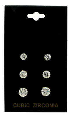 Gold-Tone Ascending Sized Stud Earrings Set With CZ Accent For Women 36TE10279CZ