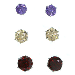 Set Of Three Round Muliple Size Per Card Stud-Earrings With Crystal Accents Silver-Tone & Multi Colored #2936