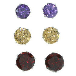 Set Of Three Round Muliple Size Per Card Stud-Earrings With Crystal Accents Silver-Tone & Multi Colored #2938
