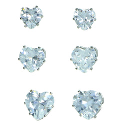 Set Of Three Heart Shaped Stud-Earrings  With Crystal Accents Silver-Tone Color #2925