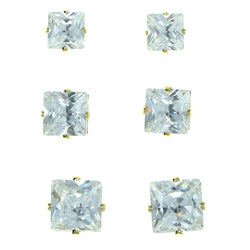 Set Of Three Square Shaped Muliple Size Per Card Stud-Earrings With Crystal Accents Gold-Tone Color #2930
