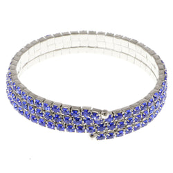 Blue & Silver-Tone Colored Metal Rhinestone-Coil-Bracelet With Crystal Accents #4334