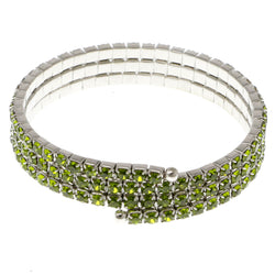 Green & Silver-Tone Colored Metal Rhinestone-Coil-Bracelet With Crystal Accents #4334