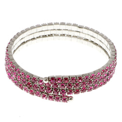 Pink & Silver-Tone Colored Metal Rhinestone-Coil-Bracelet With Crystal Accents #4334