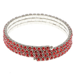 Red & Silver-Tone Colored Metal Rhinestone-Coil-Bracelet With Crystal Accents #4334