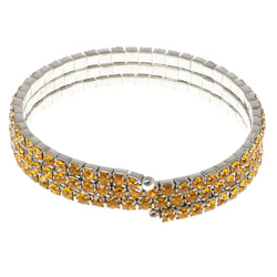 Yellow & Silver-Tone Colored Metal Rhinestone-Coil-Bracelet With Crystal Accents #4334