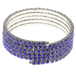 Blue & Silver-Tone Colored Metal Rhinestone-Coil-Bracelet With Crystal Accents #4352