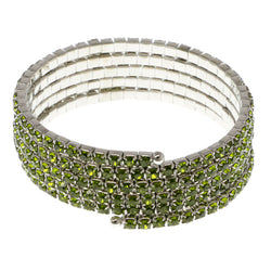 Green & Silver-Tone Colored Metal Rhinestone-Coil-Bracelet With Crystal Accents #4352