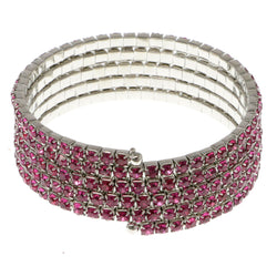 Pink & Silver-Tone Colored Metal Rhinestone-Coil-Bracelet With Crystal Accents #4352