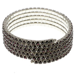 Purple & Silver-Tone Colored Metal Rhinestone-Coil-Bracelet With Crystal Accents #4352