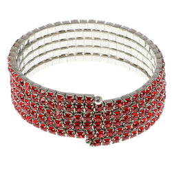 Red & Silver-Tone Colored Metal Rhinestone-Coil-Bracelet With Crystal Accents #4352